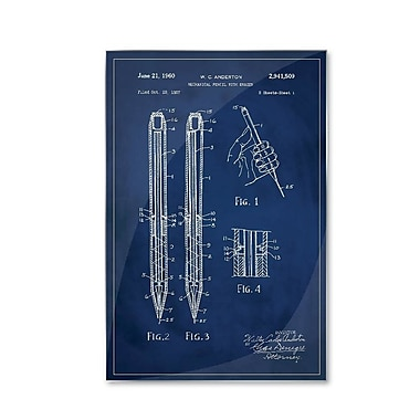 17 Stories 'Mechanical Pencil Patent' Graphic Art Print on Metal; 18'' H x 12'' W