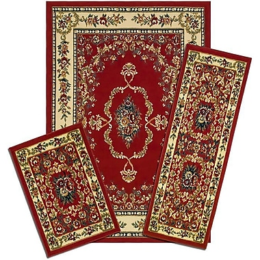 Astoria Grand Monterey Savonnerie Synthetic Red/Yellow Area Rug Set