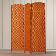 Bay Isle Home Waynefleet 71'' x 58.5'' Tall Diamond Weave Fiber 3 Panel Room Divider; Dark Beige