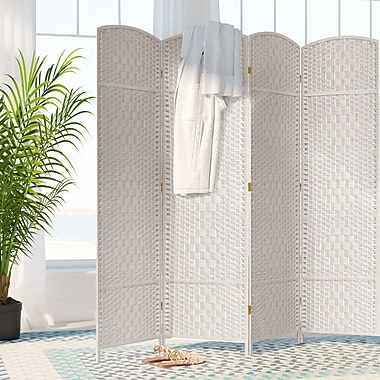 Bay Isle Home Nowayton 71'' x 64' Tall Diamond Weave Fiber 4 Panel Room Divider; White