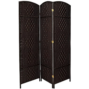 Bay Isle Home Waynefleet 71'' x 58.5'' Tall Diamond Weave Fiber 3 Panel Room Divider; Black