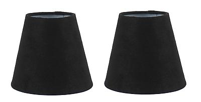 Ebern Designs 5'' Suede Empire Clip-on Candelabra Shade (Set of 2); Black