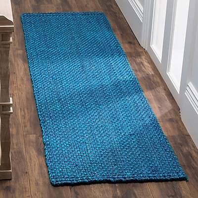 Highland Dunes Emery Hand-Woven Blue Area Rug; Runner 2'3'' x 6'