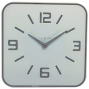 Latitude Run Square Glass Wall Clock; White