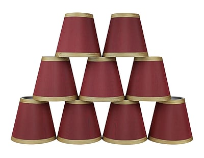 Mercer41 5'' Silk Empire Candelabra Shade w/ Trim (Set of 9); Burgundy