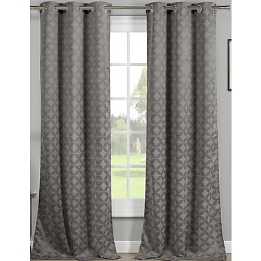 Charlton Home Vevay Geometric Blackout Grommet Thermal Curtain Panel (Set of 2); Gray