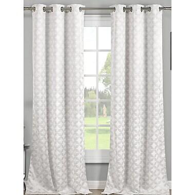 Charlton Home Vevay Geometric Blackout Grommet Thermal Curtain Panel (Set of 2); White
