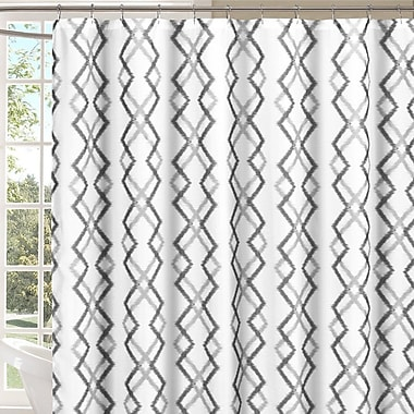 Brayden Studio Groh Flocking Reversible Shower Curtain; Gray/White