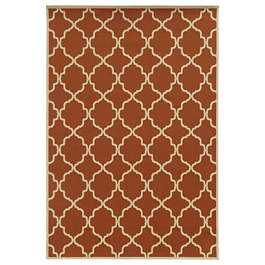 Ebern Designs Heath Geometric Orange/Ivory Indoor/Outdoor Area Rug; 3'7'' x 5'6''
