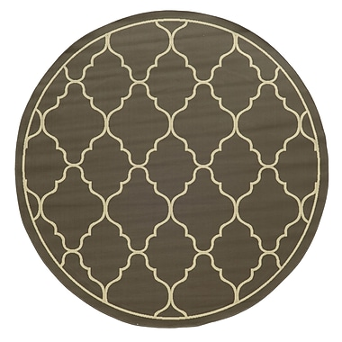 Ebern Designs Heath Geometric Gray/Ivory Stain Resistant Indoor/Outdoor Area Rug; 2'5'' x 4'5''