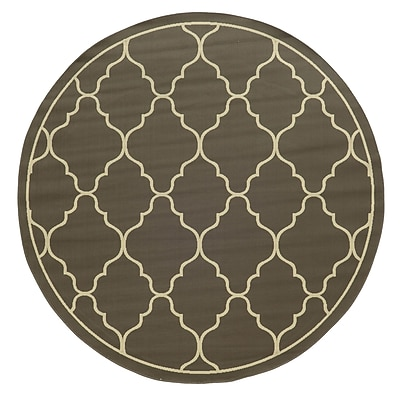 Ebern Designs Heath Geometric Gray/Ivory Stain Resistant Indoor/Outdoor Area Rug; 7'10'' x 10'10''