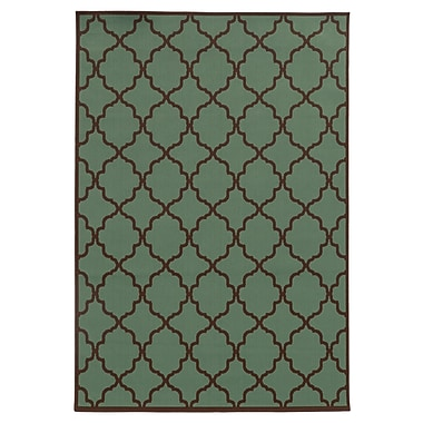 Ebern Designs Heath Green/Brown Indoor/Outdoor Area Rug; 8'6'' x 13'
