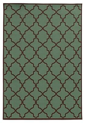 Ebern Designs Heath Green/Brown Indoor/Outdoor Area Rug; 8'6'' x 13'