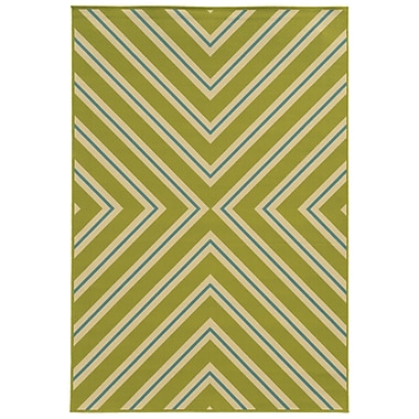 Ebern Designs Heath Green/Ivory Indoor/Outdoor Area Rug; 2'5'' x 4'5''