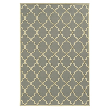 Ebern Designs Heath Geometric Gray/Ivory Indoor/Outdoor Area Rug; Runner 2'3'' x 7'6''