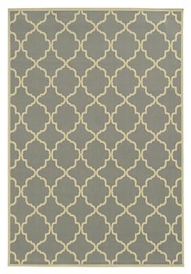 Ebern Designs Heath Geometric Gray/Ivory Indoor/Outdoor Area Rug; 3'7'' x 5'6''