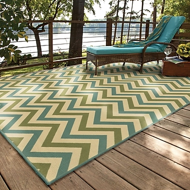 Ebern Designs Heath Green/Blue Indoor/Outdoor Area Rug; 5'3'' x 7'6''