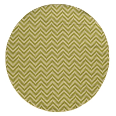 Ebern Designs Heath Green/Ivory Chevron Indoor/Outdoor Area Rug; 3'7'' x 5'6''