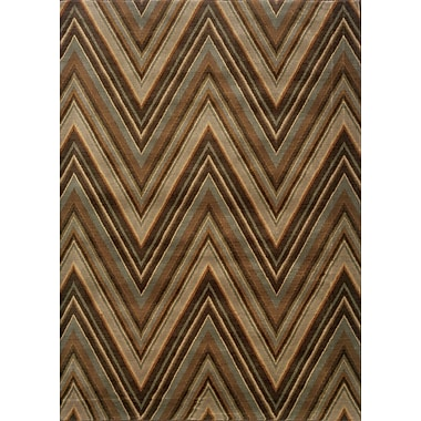 Ebern Designs Calhoun Brown/Blue Area Rug; 6'7'' x 9'6''