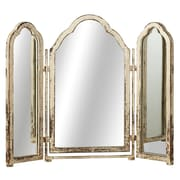 One Allium Way Olive Distressed Triple Arch Cheval Mirror