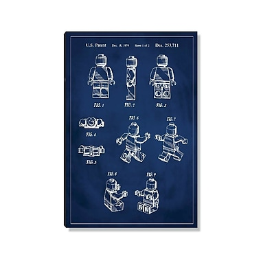 17 Stories 'Lego Man Patent' Graphic Art Print on Wood in Blue; 24'' H x 16'' W