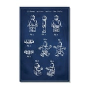 17 Stories 'Lego Man Patent' Graphic Art Print on Canvas in Blue; 36'' H x 24'' W