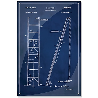 17 Stories 'Ladder Patent' Acrylic Painting Print in Blue; 36'' H x 24'' W