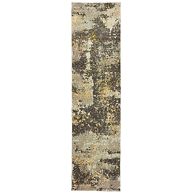 Williston Forge Knox Marbled Stone Gray/Gold Area Rug; Runner 2'3'' x 8'