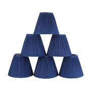 Winston Porter Pleat 6'' Silk Empire Lamp Shade (Set of 6); Navy Blue