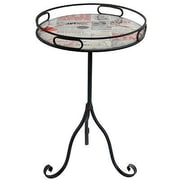 Williston Forge Radnor Metal and Glass Old News Paper Style End Table