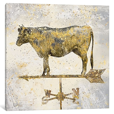 East Urban Home 'American Cow' Graphic Art on Wrapped Canvas; 12'' H x 12'' W x 0.75'' D