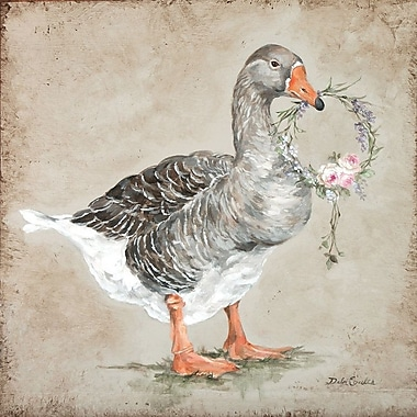 East Urban Home 'French Farmhouse Series: Goose w/ Wreath' Painting Print on Wrapped Canvas