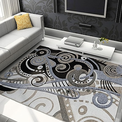 Ebern Designs Schmitt Hand-Carved Gray/Black Area Rug; 5'2'' x 7'2''