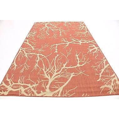 Ebern Designs Marsh Terracotta Outdoor Area Rug; 6' x 9'
