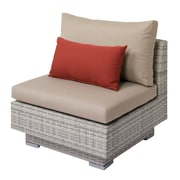 Longshore Tides Meleri Patio Wicker Middle Chair w/ Sunbrella Cushion; Beige/Red