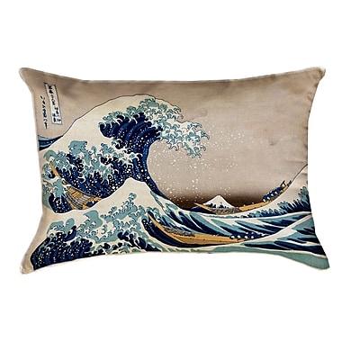 Latitude Run Raritan The Great Wave Lumbar Pillow; Red