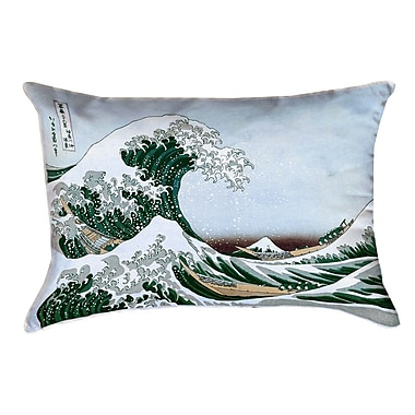 Latitude Run Raritan The Great Wave Outdoor Lumbar Pillow; Green/Blue