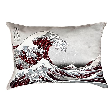 Latitude Run Raritan The Great Wave Leather Lumbar Pillow; Red