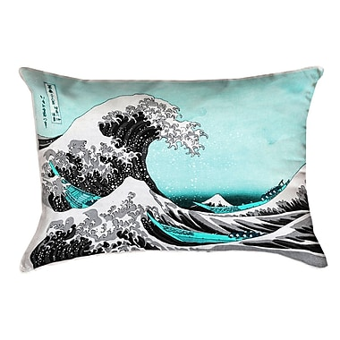 Latitude Run Raritan The Great Wave Leather Pillow Cover; Teal