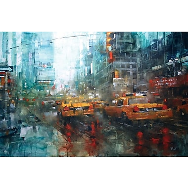 East Urban Home Times Square Reflections Graphic Art on Wrapped Canvas; 40'' H x 60'' W x 1.5'' D