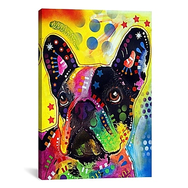 East Urban Home French BulldogPainting Print on Canvas; 18'' H x 12'' W x 1.5'' D