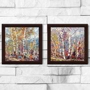 Red Barrel Studio 'Birch Colors 1' 2 Piece Framed Print Set on Glass