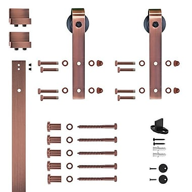 Custom Service Hardware Soft Close Hook Strap Rolling Barn Door Hardware Kit; Brushed Bronze