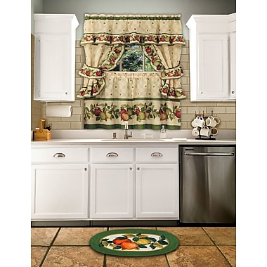 August Grove Andrea 5 Piece Apple Orchard Cottage Window Curtain Set; 24'' H x 57'' W