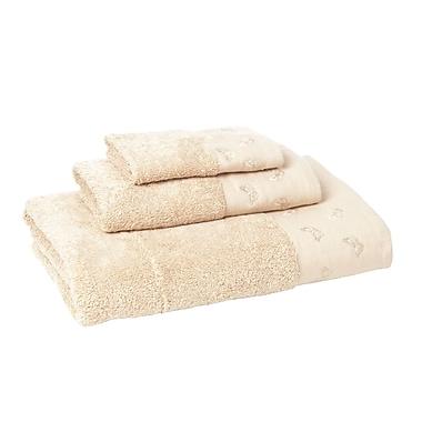 August Grove Downton 3 Piece Towel Set; Sesame