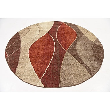 Ebern Designs Bryan Red/Beige Area Rug; Round 8'