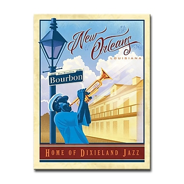 East Urban Home 'Jazz - New Orleans' Framed Vintage Advertisement on Wrapped Canvas