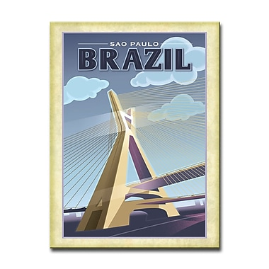 East Urban Home 'Sao Paulo - Brazil' Framed Vintage Advertisement on Wrapped Canvas