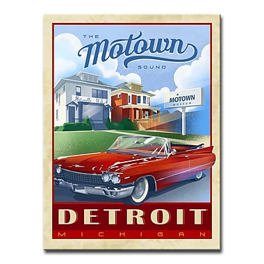 East Urban Home 'Motown - Detroit' Framed Vintage Advertisement on Wrapped Canvas