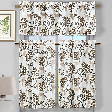 Ophelia & Co. Calidia 3 Piece Faux Linen Kitchen Curtain Set; Chocolate